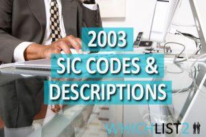 2003 SIC Codes & Descriptions