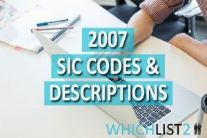 2007 SIC Codes & Descriptions